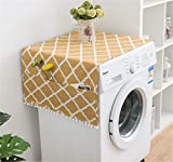 Annchaos Washing Machine Cover Dust Oil Proof Dryer Top Loader Cloth with Side Storage Pockets Cotton Linen Kitchen Refrigerator Appliance Protector (Yellow Rhombus)