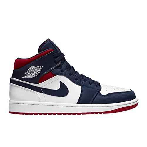 Jordan Scarpe Da Uomo Nike Air 1 Retro Mid Se Olympic 852542-104, multicolore (Bianco/Blu Marina Mezzanotte/Rosso Varsity), 42.5 EU