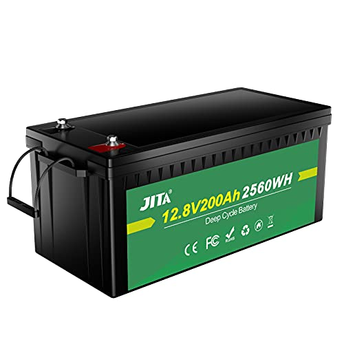 JITA 12V 200Ah LiFePO4, Lithium Deep Cycle Rechargeable Battery, Large Capacity, Waterproof, Built-in 200A BMS, 400A Max, 2000-5000 Cycles, Perfect for Home Storage, Solar System, RV, Golf Cart