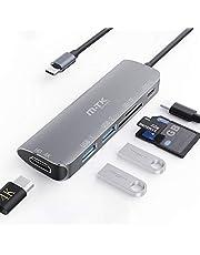 Adattatore 6-in-1 Hub USB C con HDMI 4K Lettore di schede TF/SD Porta di Carica 100W e 3 Porte USB 3.0 USB 3.0 per Air Chromebook/MacBooks PRO e Altri dispositivi Type C