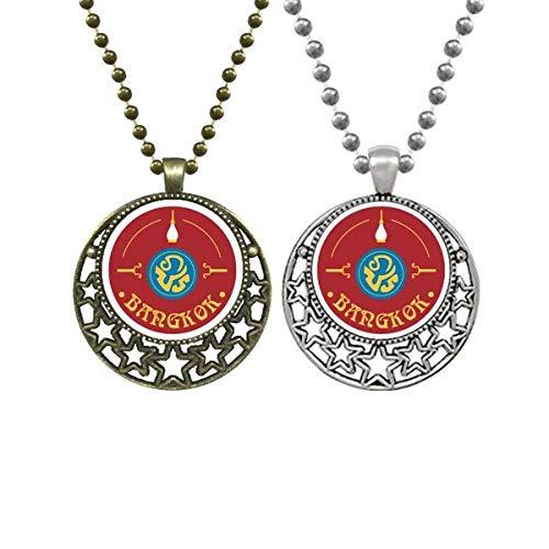 Collares con colgante de escudo de personajes especiales de la cultura tailandesa con estrellas de luna retro