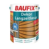 BAUFIX Dekor-Langzeitlasur, Holzschutzlasur teak, 5 Liter, atmungsaktive Holzschutzlasur für außen und innen, für alle Nadel- und Harthölzer, witterungsbeständig, UV-beständig