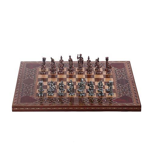 REAPP Schachbrett Schach Historische antike Kupfer Römische Figuren Metallschach Set Handgemachte Stücke Natürliche Massive Holzschachbrett König klein