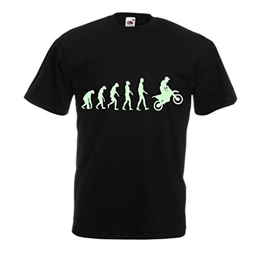 lepni.me Maglietta da Uomo Evoluzione Motocross, Moto Sporca, Maglia da Moto, Abbigliamento da Corsa, Moto da Fuoristrada (Medium Nero Fluorescente)