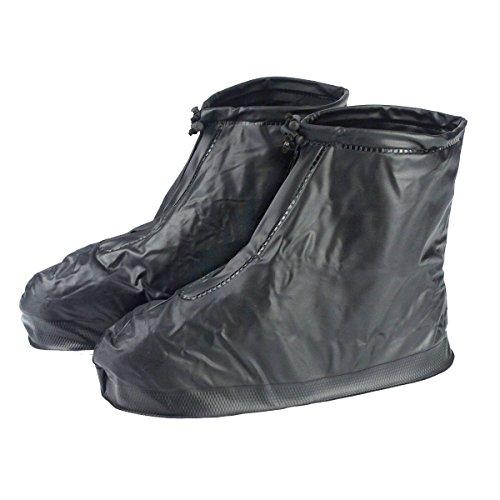 Wiederverwendbare schwarze wasserdichte Schuhüberzüge, rutschfest, Überschuh mit dicker Sohle, für Herren, Jungen Schwarz  xl