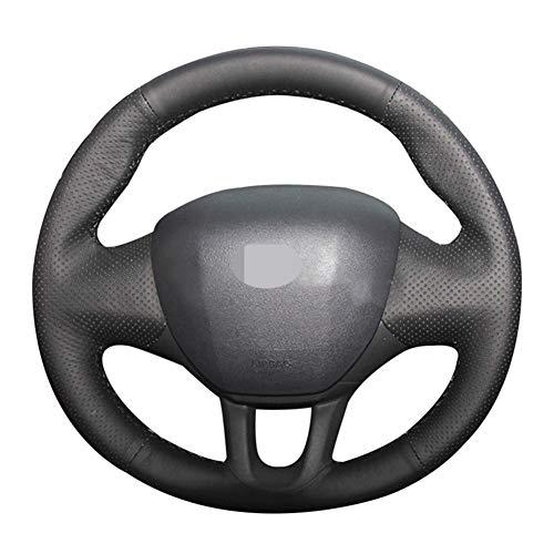jkhsXJ Funda para volante de coche de cuero cosido a mano, accesorios para Peugeot 2008 2013-2019 Peugeot 208 2011-2019