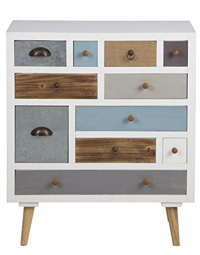 PKline Holz Kommode mit 11 Schubladen Sideboard Highboard Schubladen Schrank Anrichte weiß Bunt