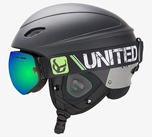 DEMON UNITED Phantom Helmet with Audio and Snow Supra Goggle (Black, Medium)
