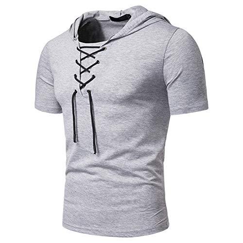 WYBD 2021 Nouveau Mode Sweat A Capuche Homme, T Shirt Sport Uni Oversize Homme Chemise Manche Courte Été Casual Ample Homme Pull avec Capuche Pas Cher Tee Shirt Marque Sweatshirt Pullover Top Haut