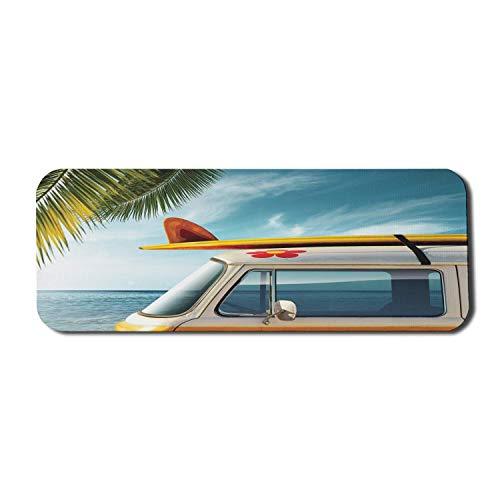 Surfbrett Computer Mauspad, Vintage Van in Strand Longboard auf dem Dach Reise Frühling Himmel Saison, Rechteck rutschfeste Gummi Mousepad große mehrfarbig