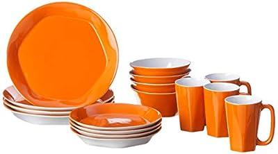 ColorUs China 112028 Glycon Hexagon in Round Stoneware 16-Piece Dinnerware Set, Tangerine, Service for 4