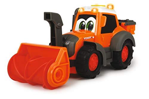 Dickie Toys Happy Fendt Snow Patrol, Schneebagger mit Schneefräse und Schneeschild zum Wechseln, Spielautos, Baustellenfahrzeug, Schneepflug, Spielzeugautos, Licht & Sound, 21 cm