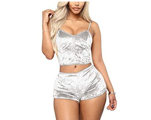 N / D Women Sexy Strappy Babydoll Lingerie Satin Velvet Pajama Set Straps Camisole with Shorts 2 Piece Sleepwear Shorts (White, M)