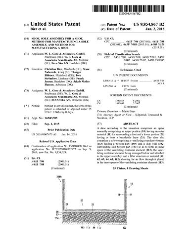 Shoe, sole assembly for a shoe, method for manufacturing a sole assembly, and method for manufacturing a shoe: United States Patent 9854867 (English Edition)