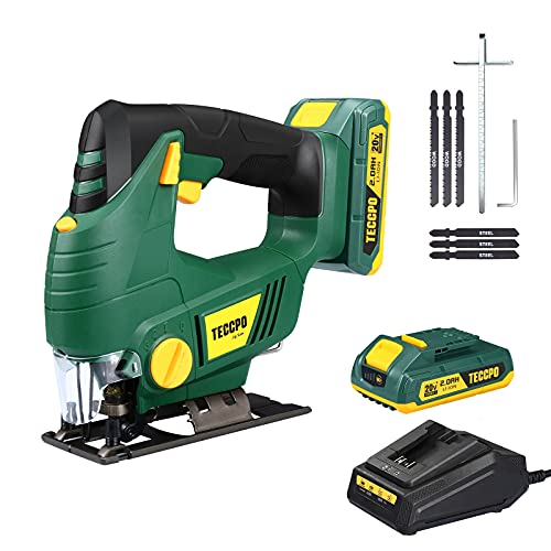Cordless Jigsaw, TECCPO 20V MAX 2.0Ah Jig Saw with Battery and Charger, 0-2,200SPM Adjustable Speed, -45°~ 45° Bevel Cutting, 1H Fast Charger, 6Pcs Blades for Wood,Metal and Plastic Cuts - MTW500B