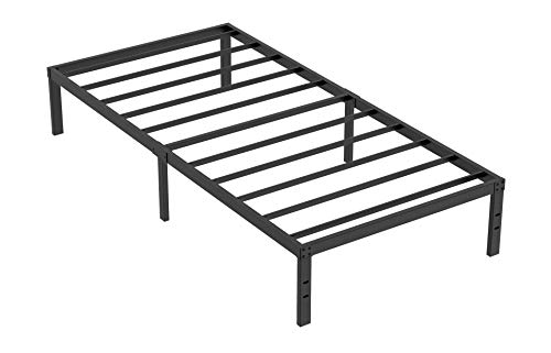 Heavy Duty Non-Slip Twin XL Size Bed Frame with Steel Slat Support, 16 Inch Height Durable and Strong Platform Metal Bed Frames Mattress Foundation for 3500 lbs, No Noise, No Box Spring Needed