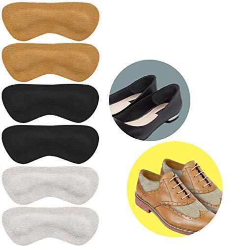 Heel Grip Shoes Too Big - Leder Fersenpolster Grips Liner Kissen Einsätze, Schuhfüller Verbesserte Schuhpassform und Komfort, Verhindert Scheuern und Blasen - 3 Paar (Khaki, Schwarz, Cremefarben)