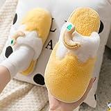 kinfuki Zapatillas Pantuflas Forro cálido,Zapatos de algodón cálido de Frutas de Dibujos Animados, Pantuflas de algodón de Felpa de Paquete Medio - Amarillo_40-41,Forro Polar Zapatilla Zapatos