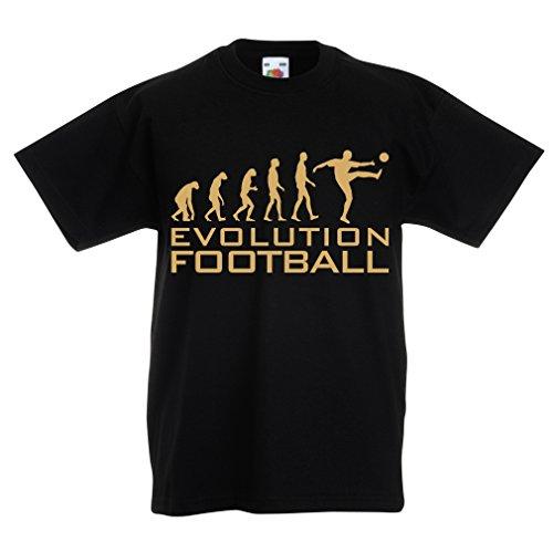 lepni.me Camiseta para Niño/Niña La evolución del fútbol - Camiseta de fanático del Equipo de fútbol de la Copa Mundial (7-8 Years Negro Oro)