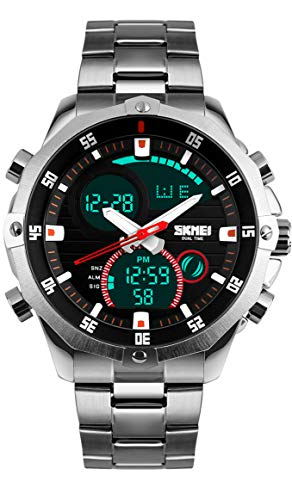 Men's Silver Digital Analog Watch Waterproof Stainless Steel Band Watch Casual Business Watch with Countdown Timer Stopwatch Date Alarm