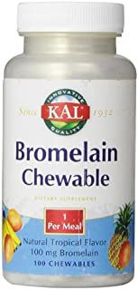 KAL Bromelain Chewable Tablets, Tropical Flavor, 100 mg, 100 Count by Kal