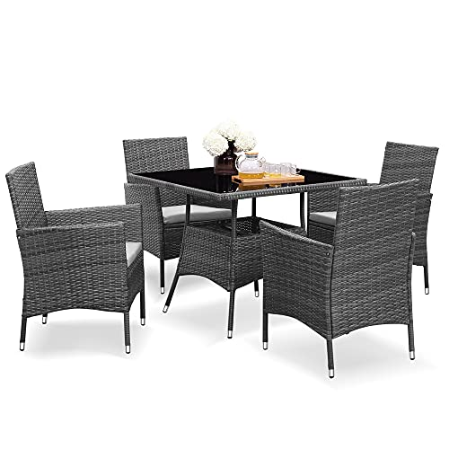 Solaste 5 Piece Outdoor Dining Furniture Set, Wicker Patio Table and Chairs Set,Square Tempered...