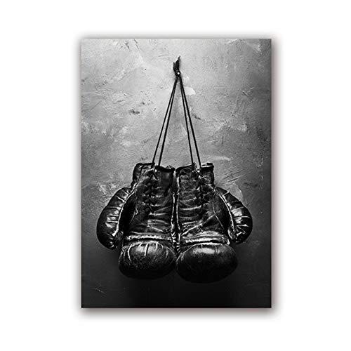 YDNGDINGYAO Peinture sur Toile Vintage Art Gants de Boxe Affiche Impression sur Toile Noir et Blanc Mur Photo Sport Peinture -50x70cm No Frame