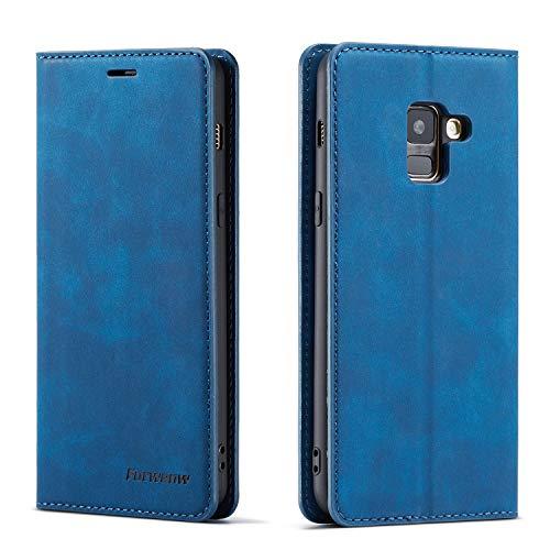 FMPC Hülle kompatibel mit Samsung Galaxy A8 2018, Brieftasche Dünne Handyhülle PU Ledertasche Flip Schutzhülle Kartenfach Geld Slot Ständer - Blau