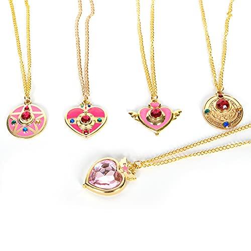 5 Piezas Anime Sailor Moon Cristal Colgante De Dibujos Animados Collar Accesorios De Niña...