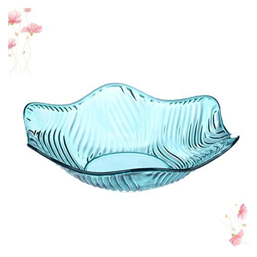 Fruteros de Cocina Placa de Fruta de Cristal Diseño de Flores Snack Nut FUT Wave Borde Borde Soporte Total DE EDALADA para EL HOGAR (Material Azul, (Color : Picture 1, Plate Size : 25.8x25.8x6.8cm)