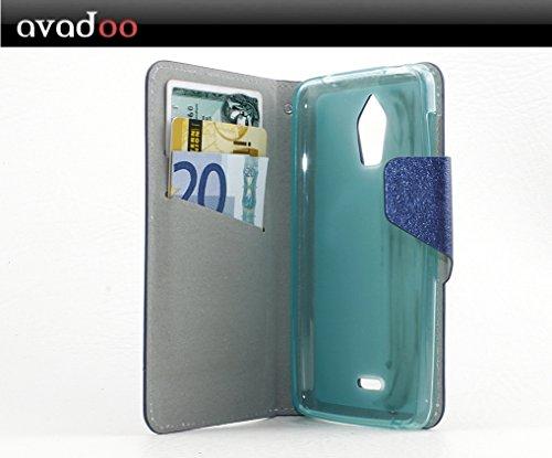 avadoo® Wiko Wax Flip Case Cover Tasche blau mit Magnetverschluss & Dualnaht als Cover Tasche Hülle