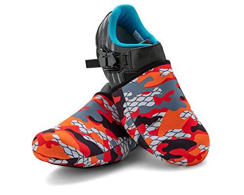 SLS3 Cubiertas de Neopreno para Calzado de Ciclismo | Calentadores de Calzado | Cubierta térmica para los Dedos del pie | A Prueba de Viento y Impermeable (Red Camouflage, Large-Xlarge)