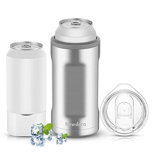 Newdora-Raffredda Bottiglie-Refrigeratore Bottiglia per Vino -Bottiglia Refrigerante a Doppia Parete in Acciaio Inox di Doppio Uso-Secchiello Ghiaccio e Bottiglia per Bere Acqua,Tè-Argento