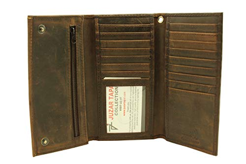 RFID Safe Long Trifold Chain Wallet Biker Crazy Horse Leather checkbook Cover Hold 20 Bills ( Rustic Brown-- J212B without chain) )