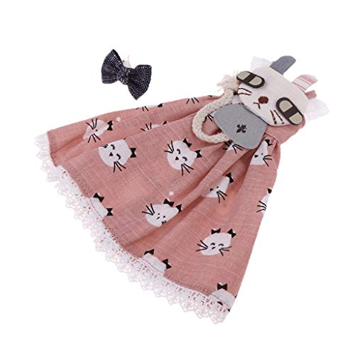 Baoblaze Hermosa Vestido de Casa Muñecas con Lazo Impreso Gatitos Adornos para Blythe Doll a Escala 1/6 - Rosado