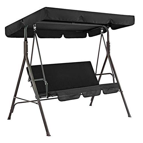 Sombrilla paraguas 2 unids/set Swing Seat Sun Shade Cover Sillas de jardín Patio Impermeable Sunproof Outdoor Decor Protector Canopy Sólido Universal (Color: Negro 249 x 185 x 18 cm)