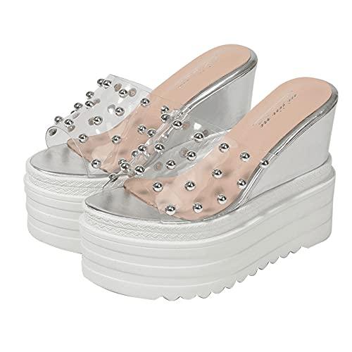 Sandalias de plataforma de playa ocasionales de mujer con tachuelas de zapatos de tacón alto, plateado, 37 EU