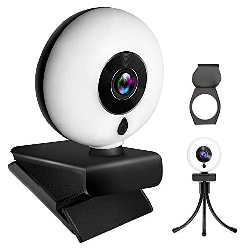 Tikland Webcam HD, Webcam PC con Microfono, Webcam USB con Fuoco Automatica, Web Camera Luce ad anello incorporata a 3 livelli, Plug e Play, Webcam Streaming per Xbox One Gamer, Facebook e Youtube