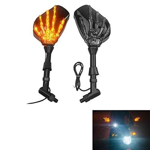 Espejos Laterales de Motocicleta Universal Espejo Retrovisor Moto con Luz de Demonio LED para V-Star XVS 650950 1100
