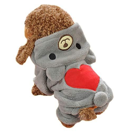 LAMEIDA Ropa para Perros Fluffy Pet Perro Oso Abrigos Cute Warm Dog Pijamas Abrigos para Mascotas de Invierno Suave con patrón de corazón XS S M L XL 1 pcs
