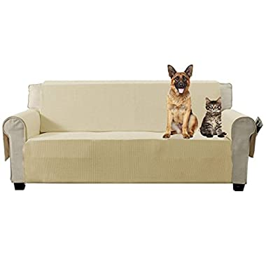 Aidear Anti-Slip Sofa Slipcovers Jacquard Fabric Pet Dog Couch Covers Protectors (Sofa, Beige)
