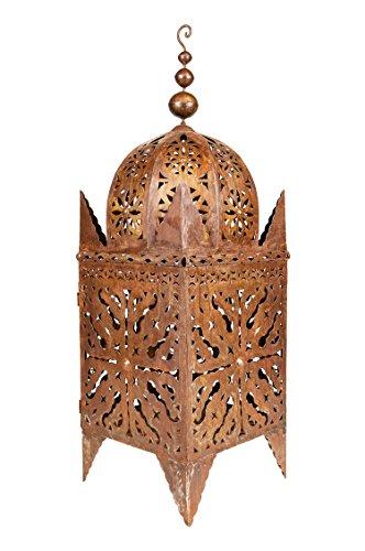 Orientalische rostige Laterne aus Metall Frane 100cm groß | Marokkanische Rost Gartenlaterne für draußen, oder Innen als Tischlaterne | Marokkanisches Gartenwindlicht hängend oder zum hinstellen