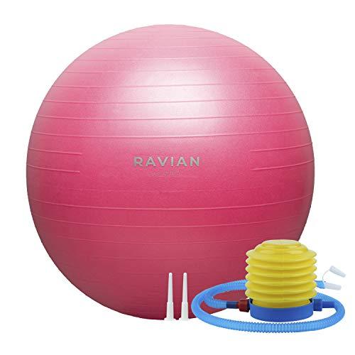 RAVIAN Pelota de ejercicio 55cm - Pelota de pilates extra Thic - Fitball Anti-Burst con bomba de pie rápida, para el embarazo y el parto, también perfecta para fitness, Core Training Yoga