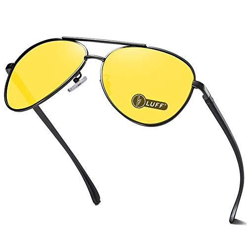 LUFF Occhiali da vista Night-Vision per guida sicura Uomo/Donna, Occhiali da sole retro polarizzati HD anti-riflesso (Retro black)