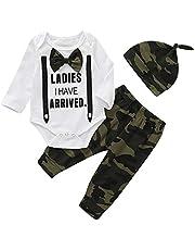 Aisheny 3 Stuks Baby Jongens Gentleman Outfits Set Met Lange Mouwen Nep Jarretel Romper Camouflage Broek Met Hoed
