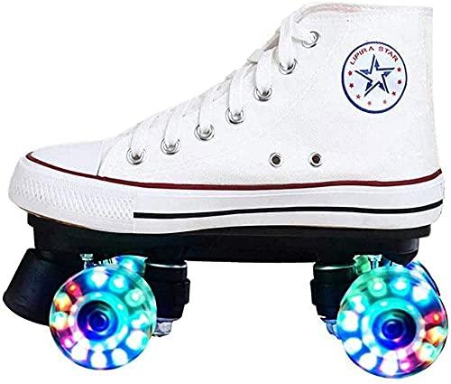 Zapatos rodantes con 4 Rollos Unisex para niños, Lienzo Barco cómodo y Scooter Transpirable, con Rueda de Doble Fila. DIRIGIÓ Street Rollerskates, 43-Blanco (Color : Weiß, Size : 39)