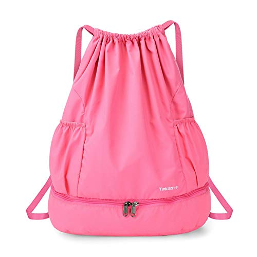 Asffdhley Sports Duffle Gym BagFoldable Drawstring Backpack Sports Gym Bagfor (Size:One Size; Color:Rose)