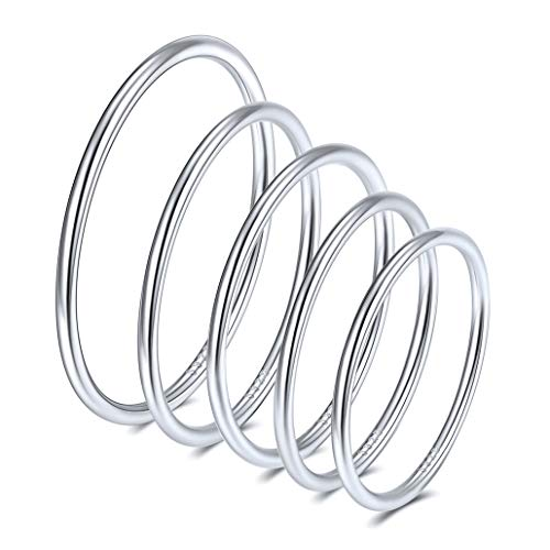 Silvora 5pcs Sterling Silver Women Knuckle Ring, S925 Comfort Thin Midi Stacking Band Rings for Women Girls Finger Jewelry- Gift Packaging (Silver)