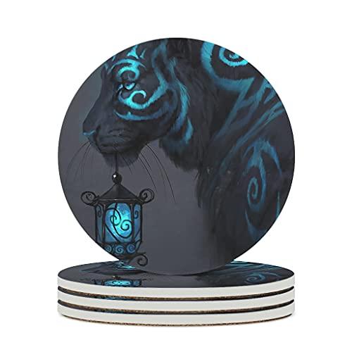 Facbalaign Iluminación mágica con forma de tigre, farolillo azul, posavasos de cerámica con base de corcho resistente a los arañazos, seguridad no tóxica, pintura bebida, posavasos blanco, 4 unidades