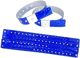Lot de 100 Bracelets Plastique - Vinyle pour Evénements Festivals - Etanche (Bleu holographique)